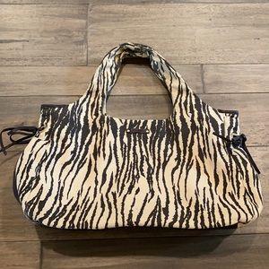 Kate Spade Zebra Print Brown&Cream Canvas Hobo Bag